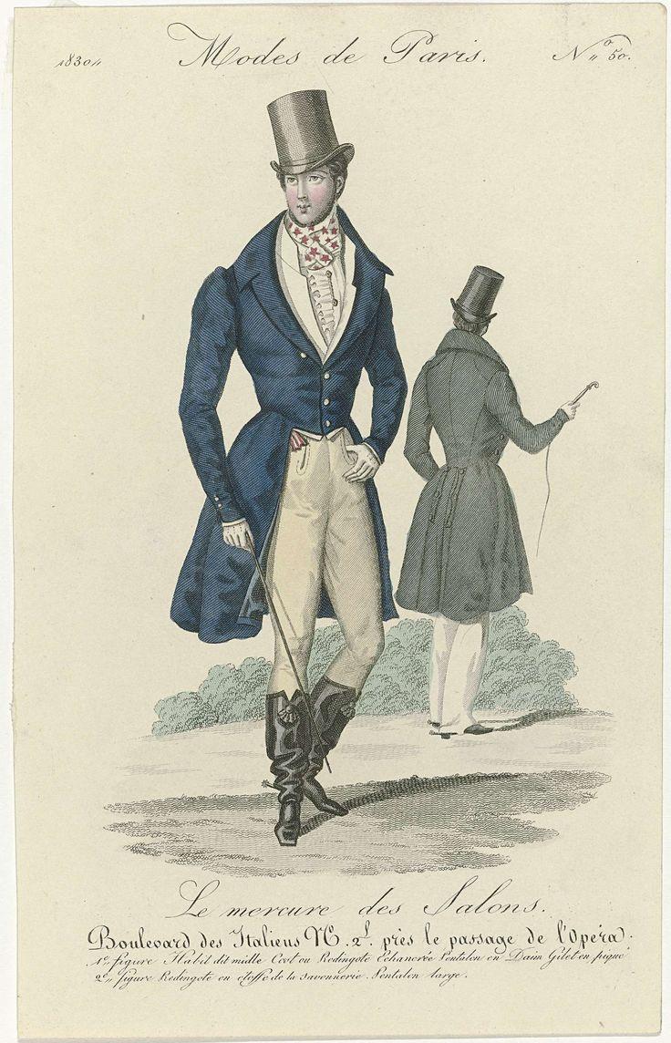 Anonymous | Le Mercure des Salons, Modes de Paris, 1830, No. 50: 1e figure Habit dit midle..., Anonymous, 1830 | Eerste figuur: 'habit', genaamd 'midle Cost' of redingote met een laag uitgesneden hals. Lange broek van suéde. Vest van piqué. Geknoopte halsdoek met patroon van sterren. Gerimpelde jabot. Accessoires: hoge hoed met opstaande rand, dasspeld(?), handschoenen, wandelstok, laarzen met kwasten, sporen en vierkante neuzen. Tweede figuur: redingote van 'étoffe de la savonnerie.' Wijde…