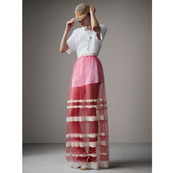 Burberry Floor-length English Lace Trim Tulle Skirt ($3,105) ❤ liked on Polyvore featuring skirts, lace trim skirt, tulle skirt, burberry skirt, long tulle skirt and floor length tulle skirt