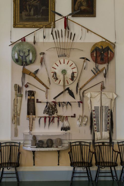 "In his ""Indian Hall"", Jefferson created a display of Native American objects, sent to him by Lewis and Clark. (The original objects were lost over time; these are recreated by Native American artists.)"