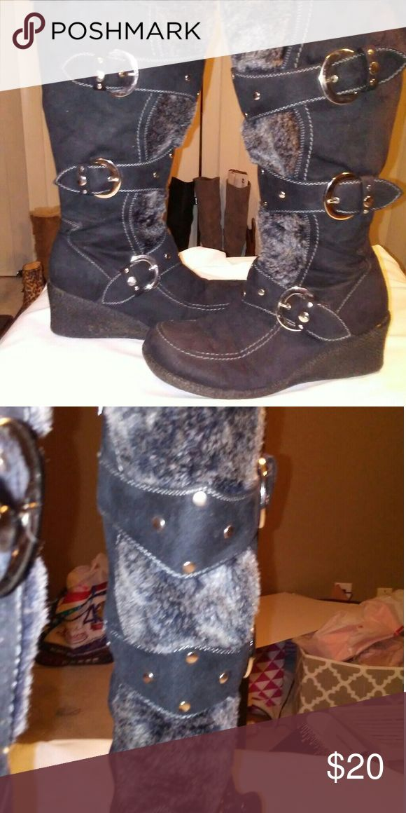 Forever Wedge heel boots by forever Forever womens studded buckle strap mid calf cold weather suede boots forever Shoes Winter & Rain Boots