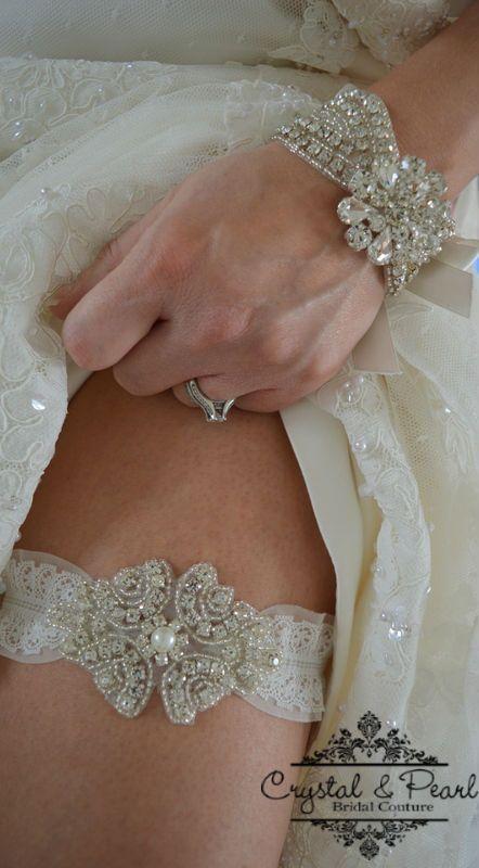 VINTAGE PEARL CRYSTAL LACE GARTER Wedding Garter Bride Rhinestone Luxury