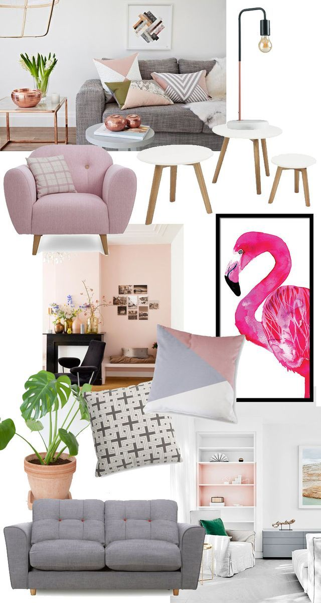 Clockwise from the top; Pink Betsy armchair – DFS | Misty Nest of Tables – DFS | Marble Industrial Table Lamp – Aldi (in store) | Flamingo Print – Sofia Rolfsdotter | Cushions – DFS | Cheeseplant – Et