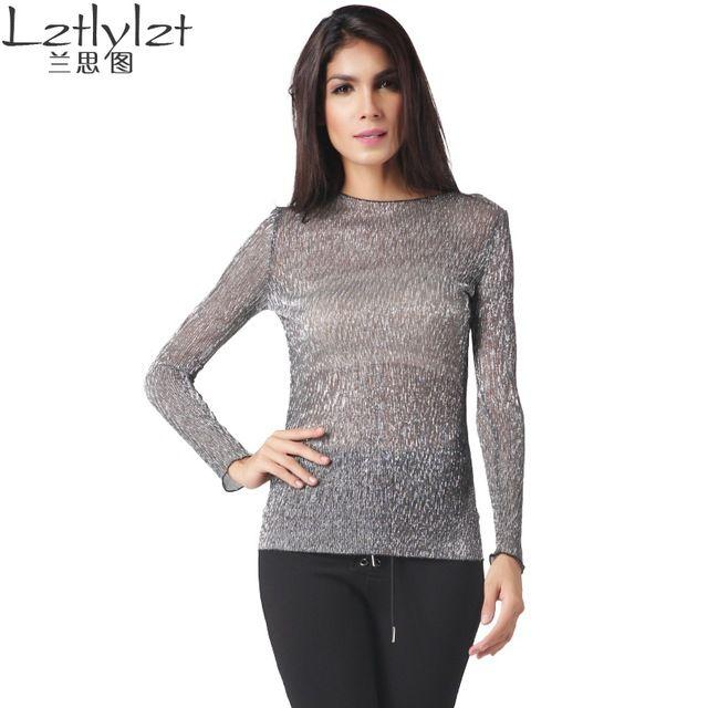 2016 Женщин блузка рубашки с длинным рукавом сексуальная Грунтовки рубашку свет Прозрачный женщины дешевая одежда о-образным вырезом повседневная женщины топы женский