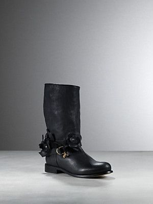 Buy Low boot in leather, in nappa calfskin, crinkled, wavy effect, side slit, leather flowers detail, ankle tie and buckle, removable, with removable Patrizia Pepe charms, Leg height 26cm from the heel