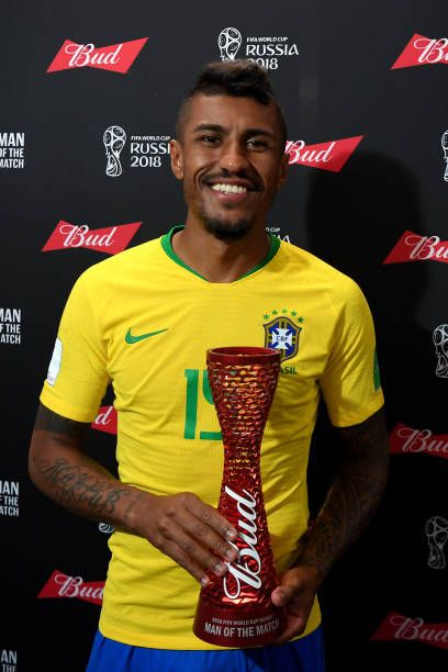 8d8dddeac Paulinho of Brazil poses with his Man of the Match trophy during the 2018  FIFA World Cup Russia group E match between Serbia and Brazil at Spartak.