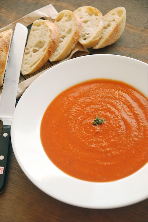 Fire-roasted tomato basil soup, 35 minutes to make and 204 calories a bowl.