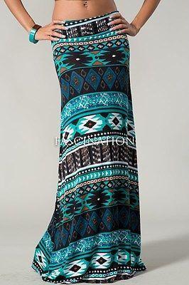 PAINT THE SKY Bohemian Tribal Turquoise Floor-Length Maxi Skirt CHELSEA VERDE M