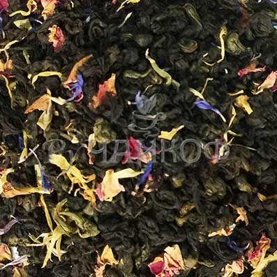 Чай Leoste Черный+Зеленый с лепестками шиповника и василька.