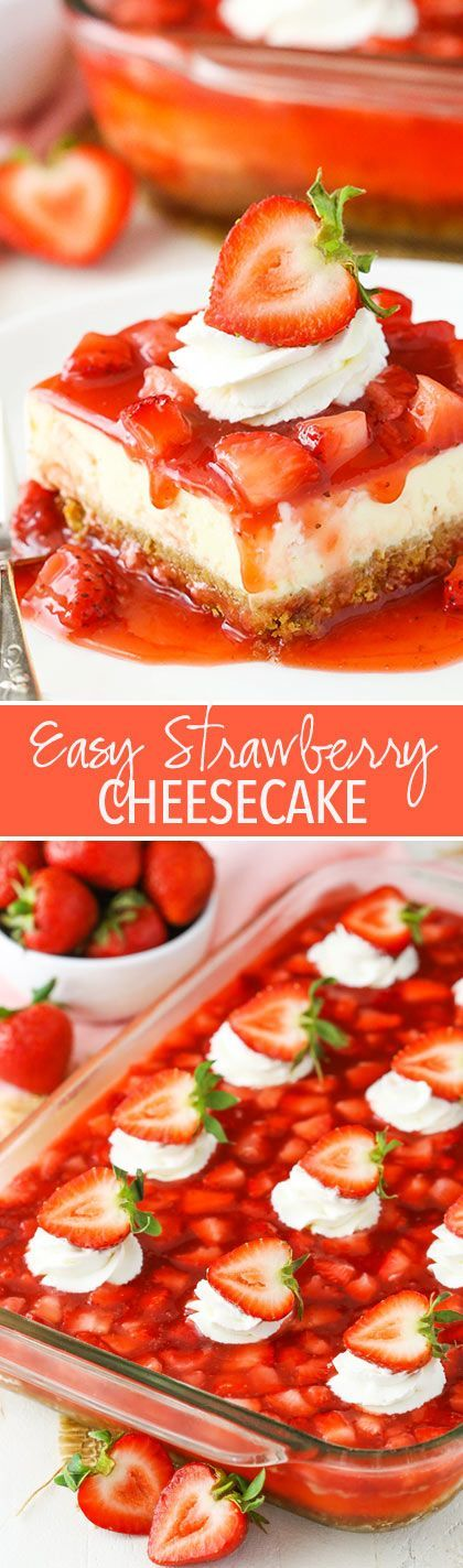 Easy Strawberry Cheesecake - thick crust, creamy vanilla cheesecake and a homemade strawberry topping! http://amzn.to/2sBUZBN