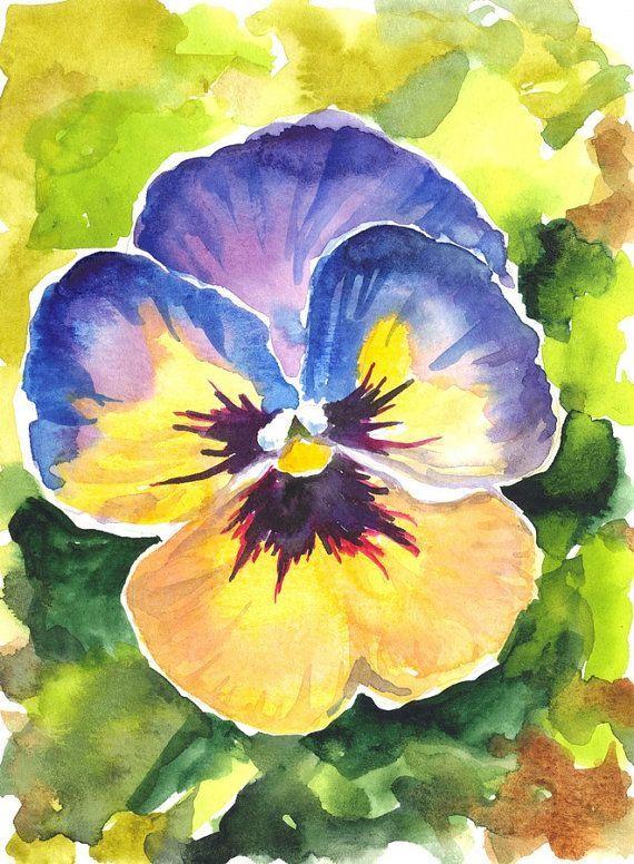 Pansy Original Watercolor Painting By Akimova Flower By Irinart