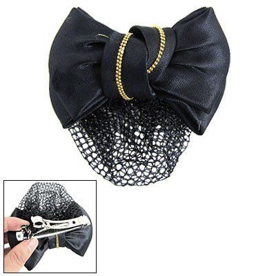 """Rosallini Hairnet Design Double Black Bowknots Accent Metal Hair Clip for Women by Rosallini. $6.68. Material: Metal & Polyester. Main Color: Black, Gold Tone. Bowknot Size: 11 x 7.5 x 4cm/ 4.3"""" x 3"""" x 1.6"""" (L*W*H). Clip Size: 8 x 1 x 1cm / 3.1"""" x 10.4"""" x 0.4""""(L*W*H). Weight: 24g, Package: 1 x Bowknot Hair Clip. Constructed of double bowknots accent, metal hair clip is for ladies.With gold tone plastic bead, it's a beautiful ornament for you to wear in daily life or important cas..."""