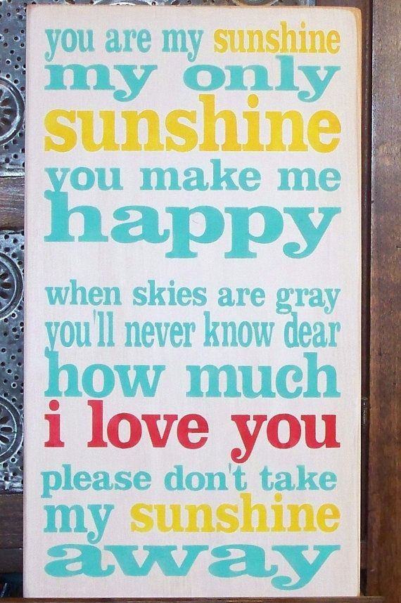 YOU are my SUNSHINE -I Love You in Red - Hand-painted on wood - Typography…                                                                                                                                                                                 More