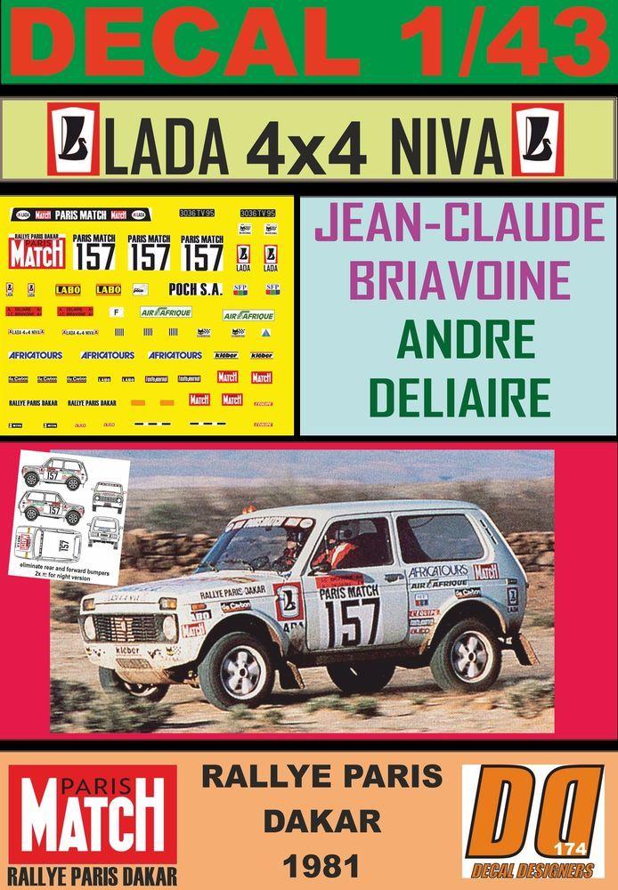 DECAL 1/43 LADA NIVA JEAN-CLAUDE BRIAVOINE PARIS DAKAR 1981 (02)