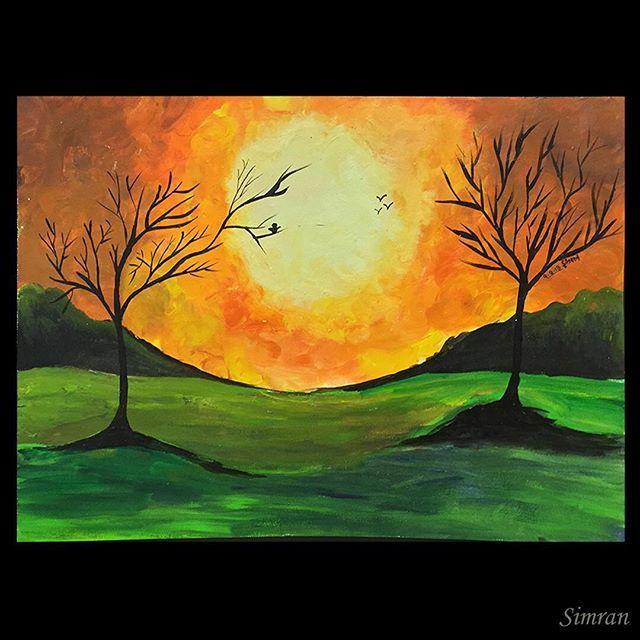 ##acylic #sunset #landscape #landscape_lovers #landscapepainting