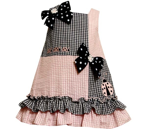 Infant or Toddler Sundress - Bonnie Jean Pink / Navy Ladybugs and Bows Dress $18.99