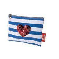 Kingsley Travel/Cosmetic Bag, Canvas, Blue/White Stripe, Heart by Kingsley. $6.49