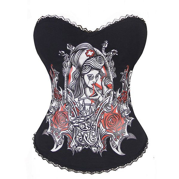 Alluring Strapless Printed Laciness Women's Corset, BLACK, 2XL in Corset & Bustiers | DressLily.com