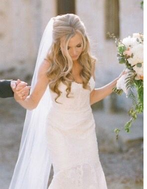Hairstyle with cathedral veil