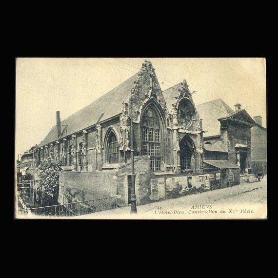 Carte postale vintage l'Hôtel Dieu, Amiens, France