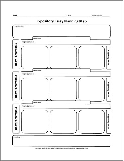Another graphic organizer for mapping out an expository prompt. Great for laying all of the pieces of the essay or journal in the correct order.