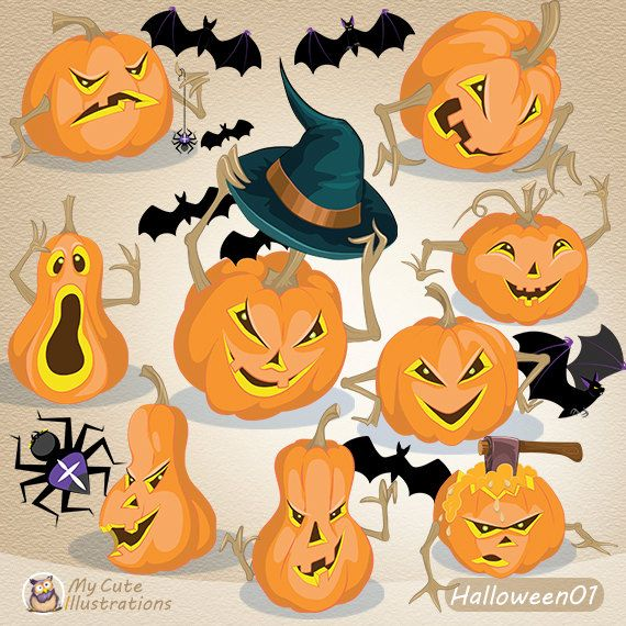 Halloween pumpkins clipart / Jack O'Lantern  Cliparts / Scary Face / Instant…