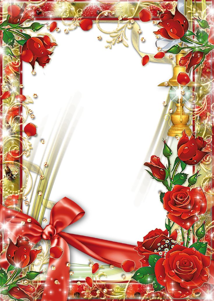 Photo-Frame-with-Flowers-Beautiful-Roses.png (914×1280 ...