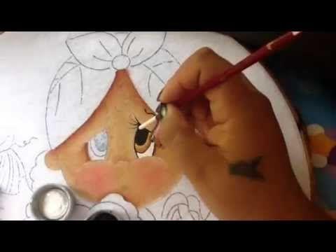 Pintura en tela niña platano # 1 con cony - YouTube