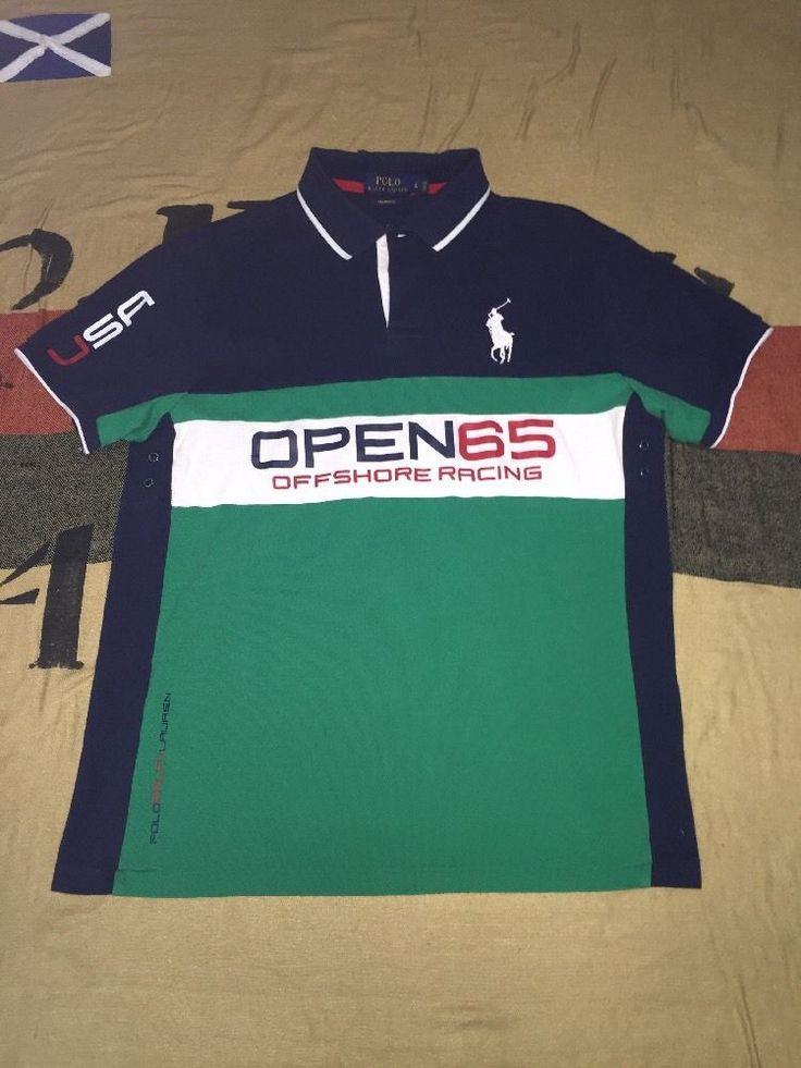 POLO RALPH LAUREN Open 65 Polo Shirt Off Shore Racing USA Big Pony Sz L Bear | Clothing, Shoes & Accessories, Men's Clothing, Casual Shirts | eBay!