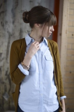: Cardigans, Work Clothing, Colors Combos, Buttons Up, Outfit, Blue Shirts, Bangs, Business Casual, Oxfords Shirts