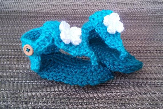 Handmade Crochet Teal Infant or Baby Gladiator Sandals for Girls size 6-9 months / Ready to Ship / Summer Sandals / Baby Shower Gifts