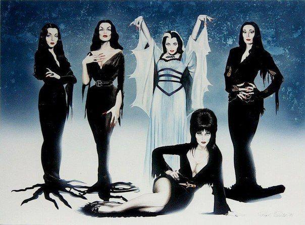Мортиша (Carolyn Jones), Вампира (Maila Nurmi), Лили Манстер (Yvonne DeCarlo), Эльвира (Cassandra Peterson), Мортиша (Angelica Houston)