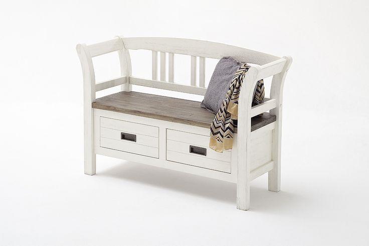 Sitzbank Blance II Strukturweiß Passend zum Möbelprogramm Blance 1 x Sitzbank mit 2 Schubkästen Front: Akazie strukturweiß lackiert / massiv Korpus:...