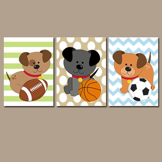 PUPPY Dogs Wall Art DOG Baby Boy Bedroom SPORTS Nursery Boy Arrk Dog Theme Chevron Pattern Baby Boy Set of 3 on Etsy, $28.00