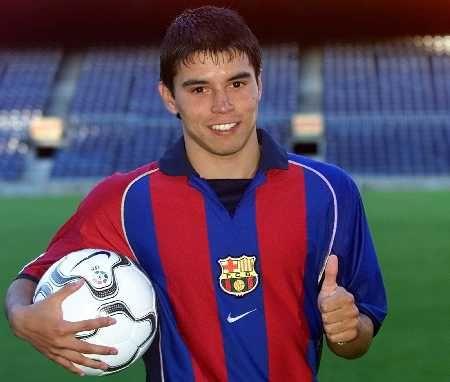Javier Saviola, el 20 de julio de 2001, cuando fue presentado como 'barçargentino' y nuevo jugador del FC Barcelona.
