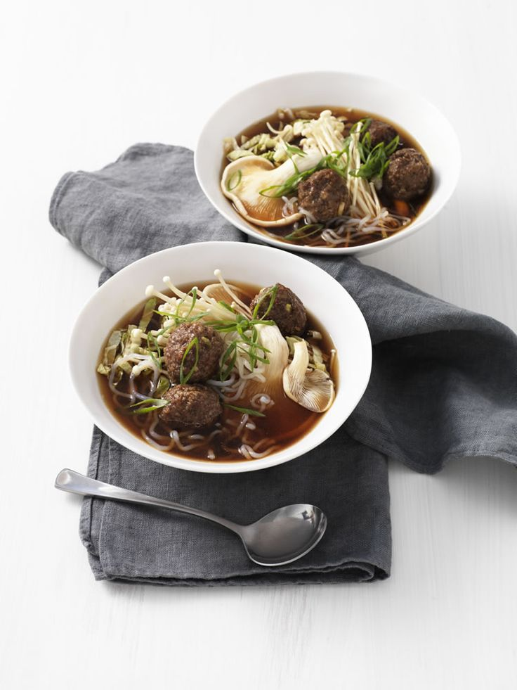 Meatball and Super Lo-Cal Noodle Soup