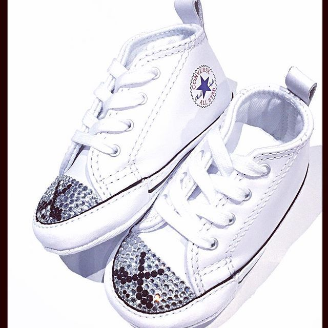 Excited to share the latest addition to Tricked Kicks! ON SALE and can ship out today! Hockey Blinged White Converse Shoes in Size 3.  #hockey #babyshoes #hockeymom #customconverse #trickedkicks http://etsy.me/2ACZ8fO