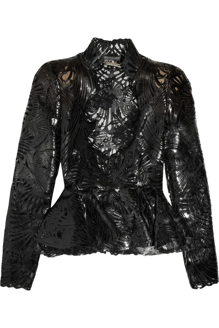 Alexander McQueen Laser-cut patent-leather and lace jacket. I NEED TO OWN THIS :)
