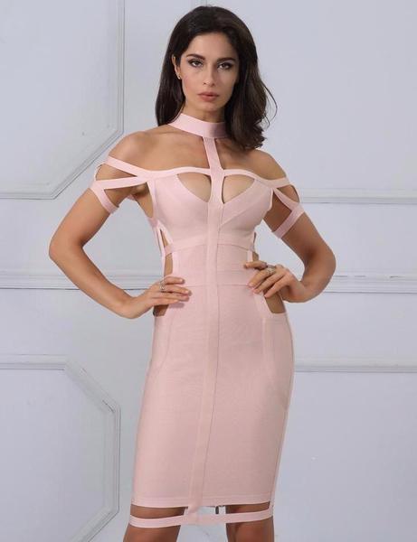 Beautiful dress with off the shoulder O-neckline |Vestido casual color durazno, azul y naranja apretado de cocktail arriba de la rodilla