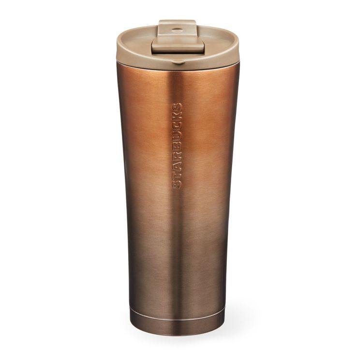 Starbucks Copper Gradient Stainless Steel Tumbler, 16 fl oz | A double-walled, stainless steel coffee tumbler with a copper ombré finish.