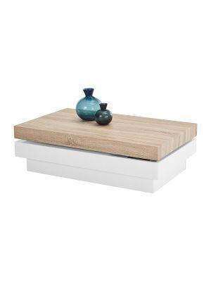 Salontafel+Beloit+-+hoogglans+wit/Sonoma+eikenhouten+look,+roomscape