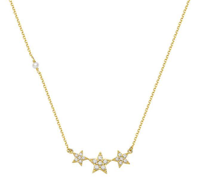 Κολιέ Al'oro αστέρια χρυσό Κ14 ζιρκόν