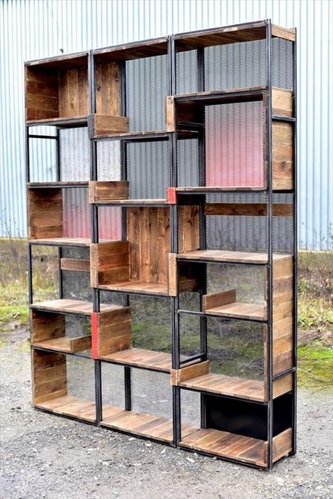 Industrial Pallets And Steel Shelves | 99 Pallets #industrial_shelf_decor