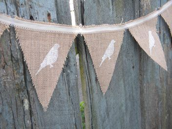 Sweet bird, lace and Hessian bunting.