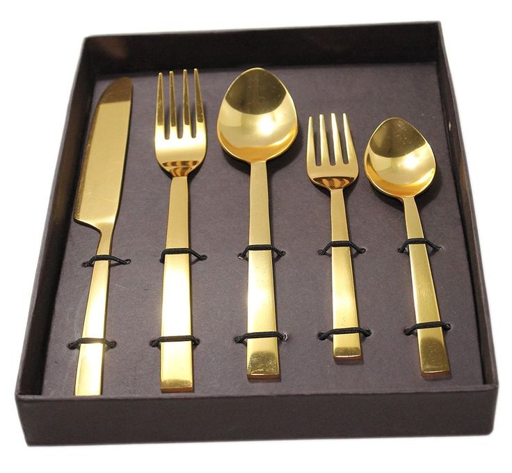 Gift Pack Handcrafted Premium Stainless Steel Flatware / Cutlery Set GOLD PLATE  #Buddha4all