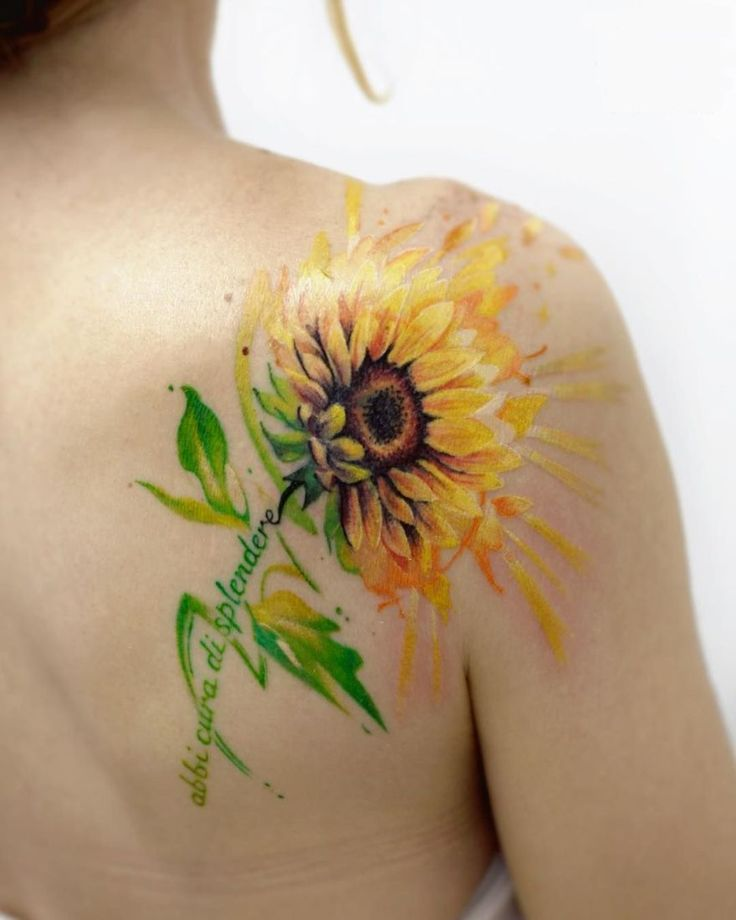 watercolor sunflower tattoo by Deborah Genchi