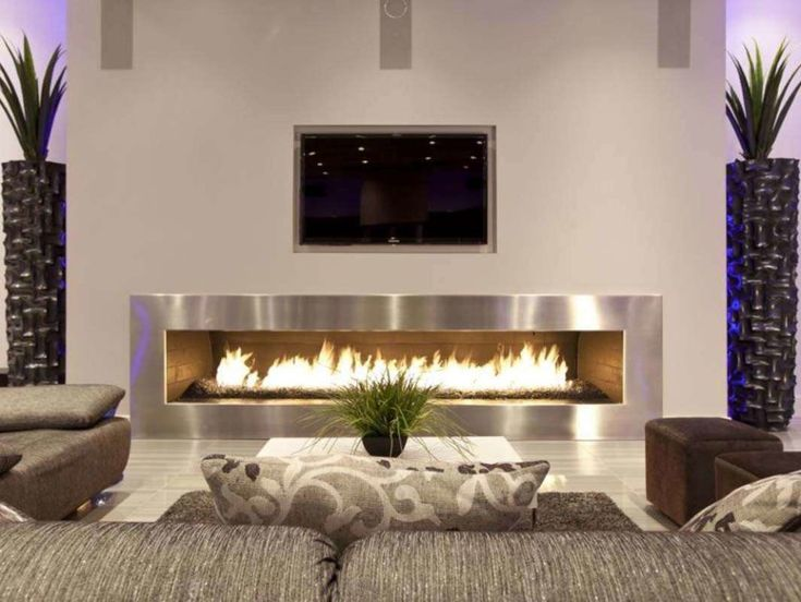 Long Contemporary Electric Fireplace