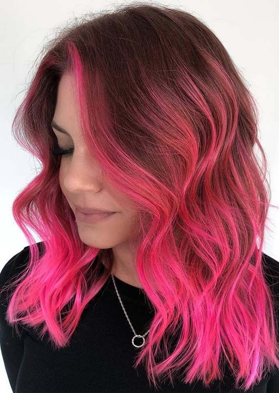 Fresh Pink Hair Color Shades With Dark Roots In 2019 Hair Color Pink Cool Hair Color Best Pink Hair Dye