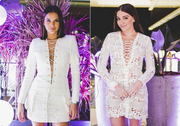 Tendência: Bruna Marquezine e Luma Costa apostam no decote de amarração em festa…