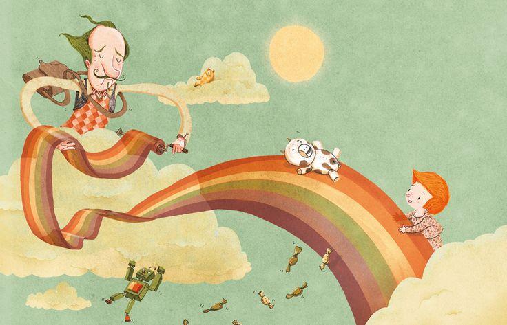 """Shahar Kober illustration for """"Mr. Magic"""", by Leah Goldberg."""