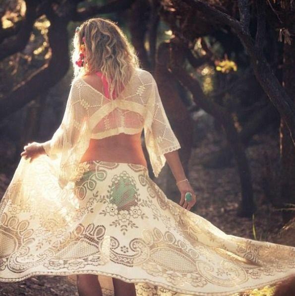Boho gypsy style, modern hippie fashion lace skirt, trends on http://www.pinterest.com/happygolicky/boho-chic-fashion-bohemian-jewelry-boho-wrap-brace/